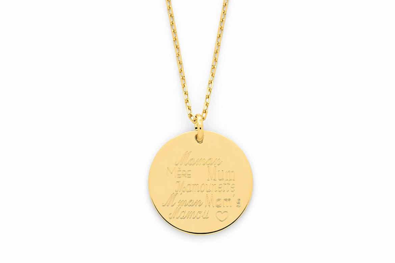 Bijoux Fête des Mères 2020 - bijoux Gravés - Collier médaille Fête des Mères | Atelier de Famille