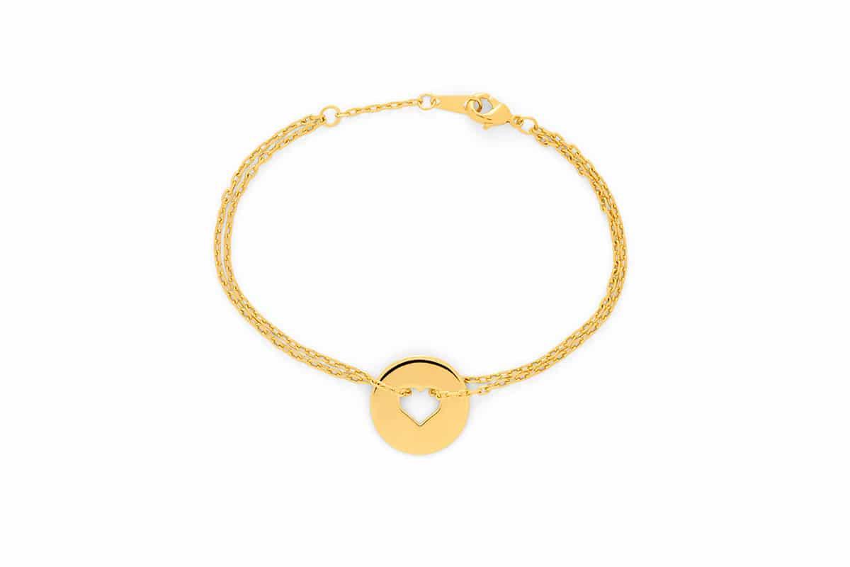 Bracelet cible coeur plaque or Atelier de Famille