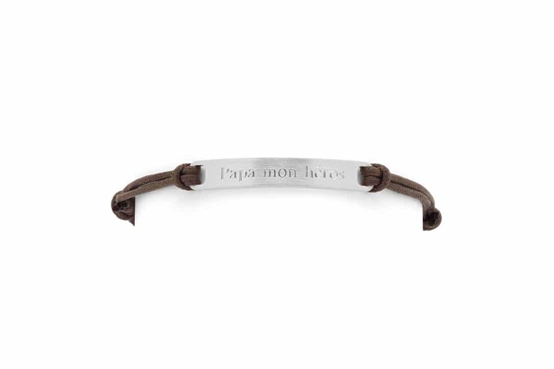 Bracelet homme cordon plaque acier Atelier de Famille