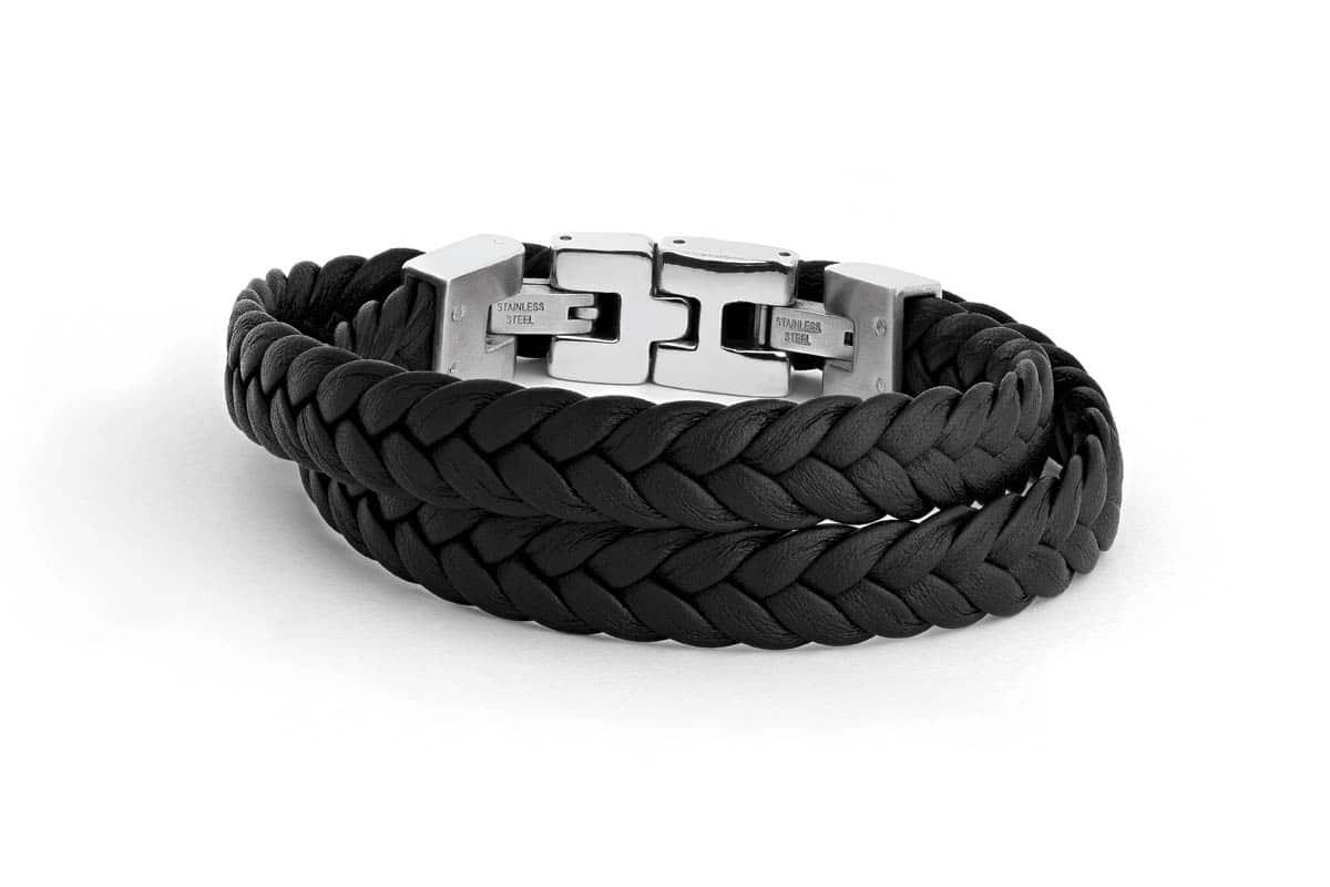 Bracelet cuir double tresse Atelier de Famille