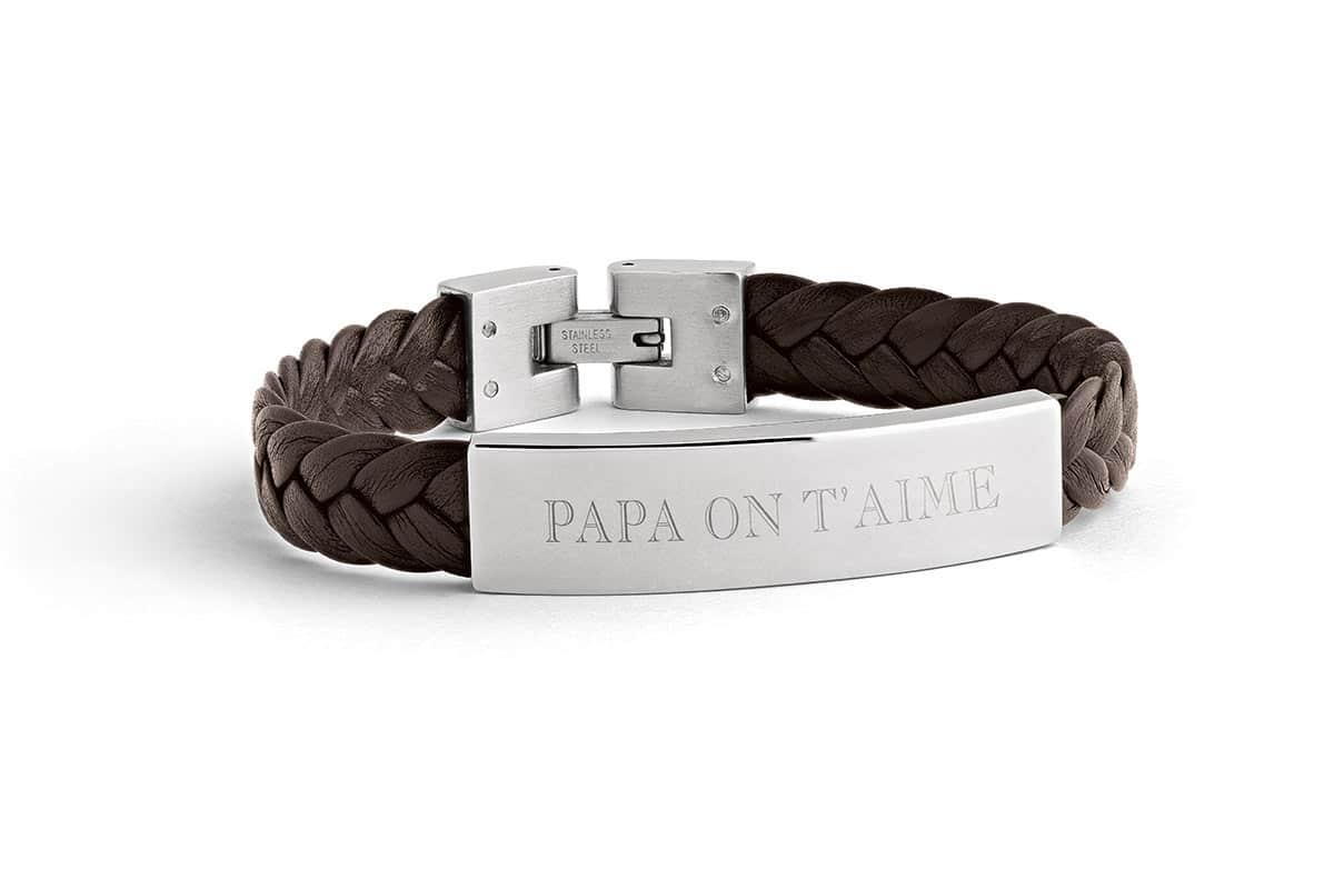 Bracelet cuir plaque acier homme Atelier de Famille