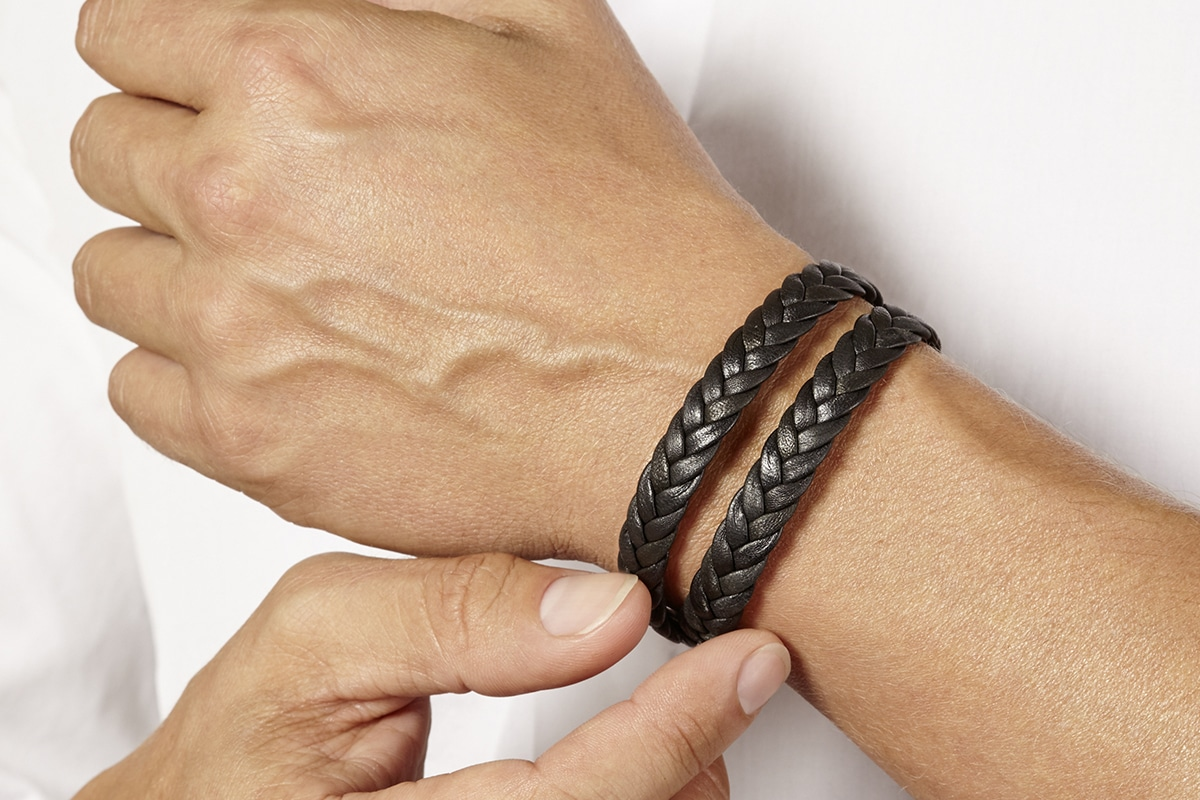 Bracelet cuir tresse double tour Atelier de Famille