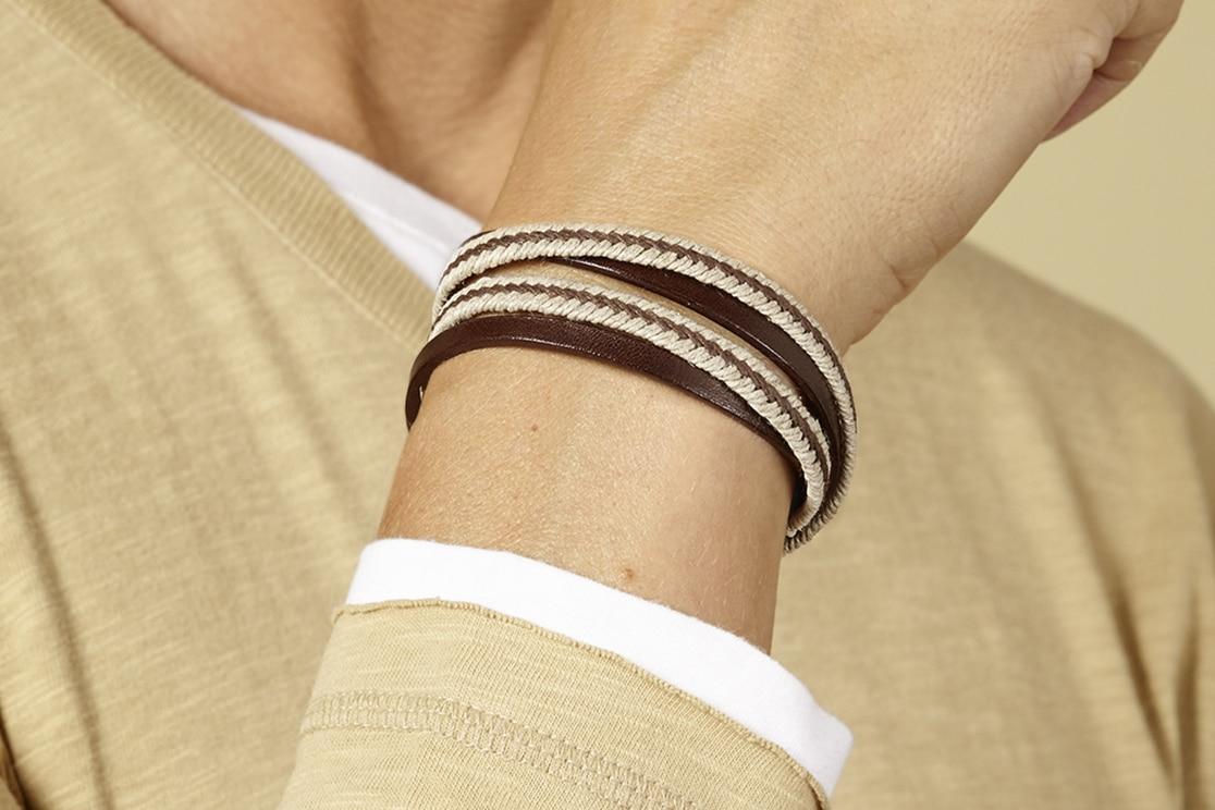 Bracelet homme nautic cuir Atelier de Famille