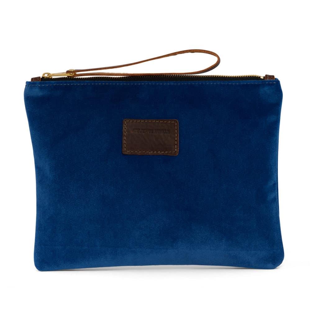 grande pochette cuir velours bleu