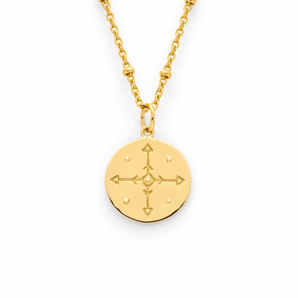 collier medaille rose des vents Atelier de Famille