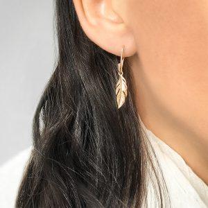 Bijoux Black Friday 2020 - Boucle d'oreilles plumes plaqué or