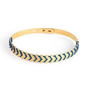 ADF - Bracelet Jonc Athéna plaqué Or tissage chevron